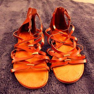 Brown and gold strappy flat sandals